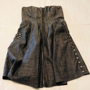 Material Girl Gray Denim Strapless Mini with Studs